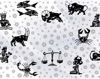 Cut CNC Ready Files Design SVG PDF Eps #054 Digital Astrology Sketches Graphics Drawing Zodiac Signs Zodiac Symbols Vector Image ClipArt