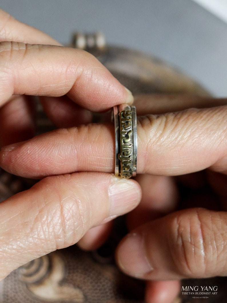 Gold Gilt Spin Prayer Wheel 925 Sterling Silver Ring - Nepal Tibet ...