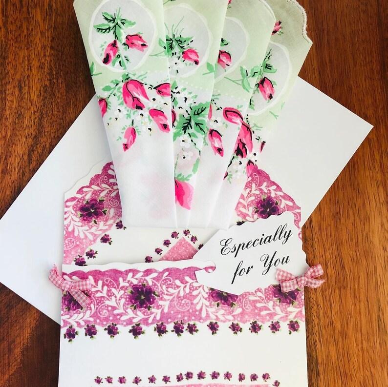Exquisite vintage inspired hankie  handkerchief folio !100/% Batiste cotton dainty floral design with cardenvelope.