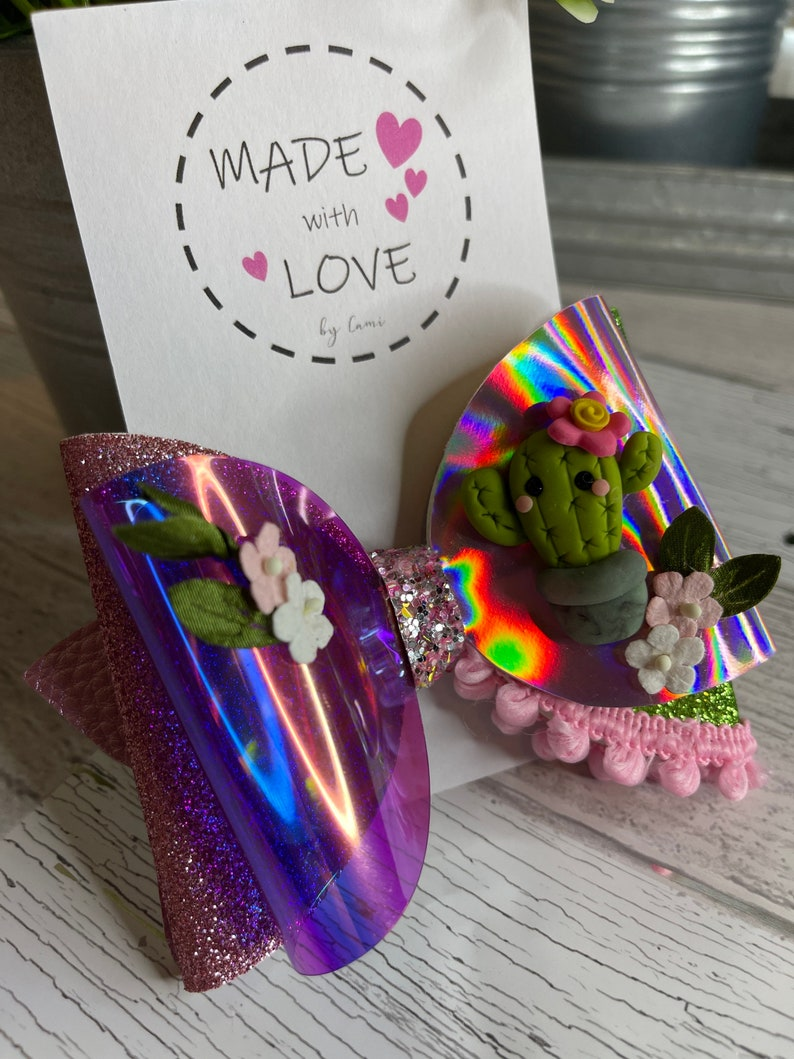 5 Inch Baby Cactus Stand Hair Bows Country Girl Bows Succulents Collection Theme Bows Baby Girl Gifts