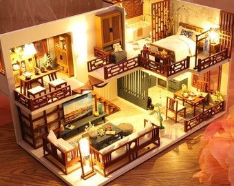 Dollhouse Miniature with Furniture, DIY Dollhouse Kit Plus Dust Proof and Music Movement, 1:24 Scale Creative Room Idea(Quiet Time)