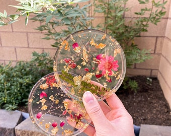 Resin Coaster Kit Resin Coasters Resin Coasters Red Geode Coasters Wedding Drink Coasters Epoxy Resin Flowers Decor