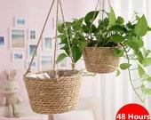Garden Plant Storage Basket Jute Rope Hanging Planter Woven Indoor Outdoor Flower Pot Holder Macrame Plant Hangers Home Decor