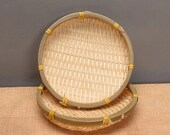 Round Handmade Woven Bamboo Basket Fruits Vegetables Draining Basket Snack Biscuit Drying Plate (13cm