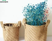 1PC Foldable Woven Sacks Storage Boxes Sundries Organizer Laundry Basket Flower Planter Pot Storage Basket