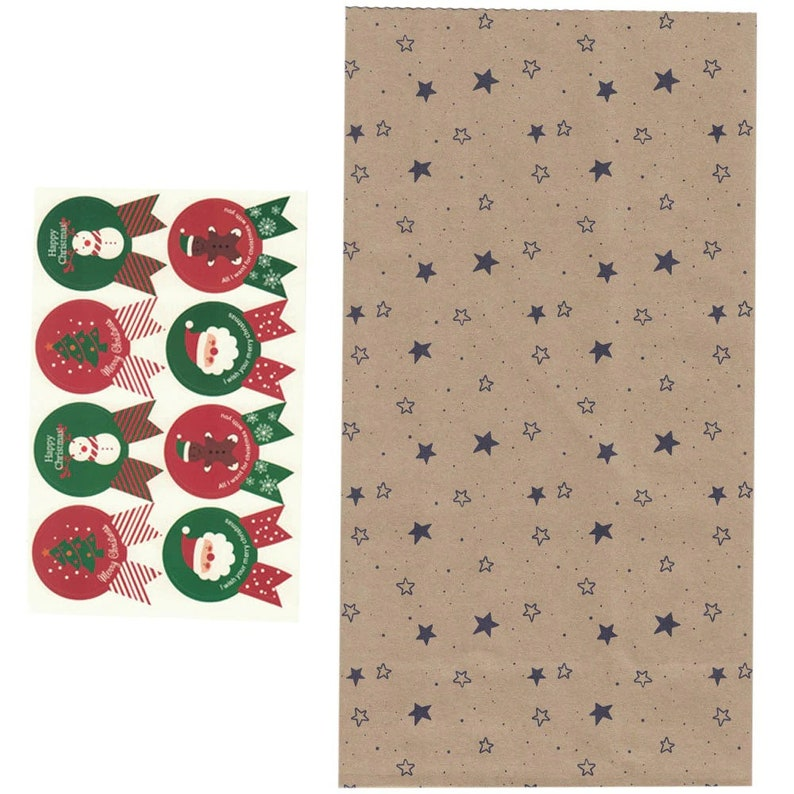 Gift Paper Bag Paper Stickers Xmas Candy Food Cookies Packing Paper Bags 40pcslot Christmas Kraft Paper Bag