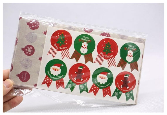 Christmas Kraft Paper Bag Gift Paper Bag Paper Stickers Xmas Candy Food Cookies Packing Paper Bags 40pcslot