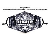 Sugar Skull Calavera Face Mask Filter Pocket 2 Filters Reusable Washable 3 Layer Fashion Print Graphic High Quality Free Shipping