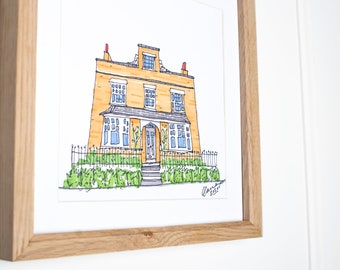 Hand Drawn House Illustration   House Portrait   Personalised Gift
