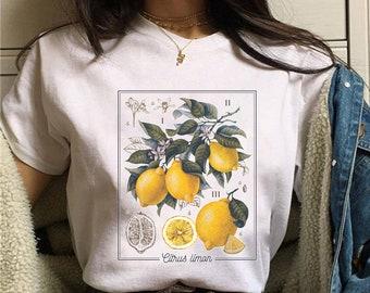 Lemon Shirt Botanical Shirt Cottagecore Clothing Lemon Print Gardening Shirt Indie Clothes Cute Fruit Shirt Aesthetic Clothes Lemon T Shirt