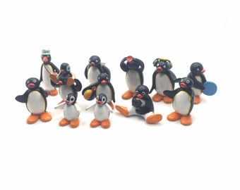 12 vintage retro KINDER EGG surprise PINGU penguin toy figures