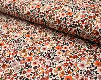 from 10 cm, Jersey fabric with flowers, floral print cotton jersey, digital print, digital fleurs, OEKO-Tex watercolor flower