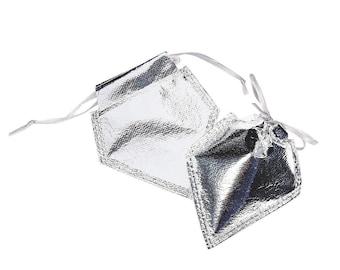 Party Supplies Mini Silver Metallic Organza Drawstring Bags 12 Pieces