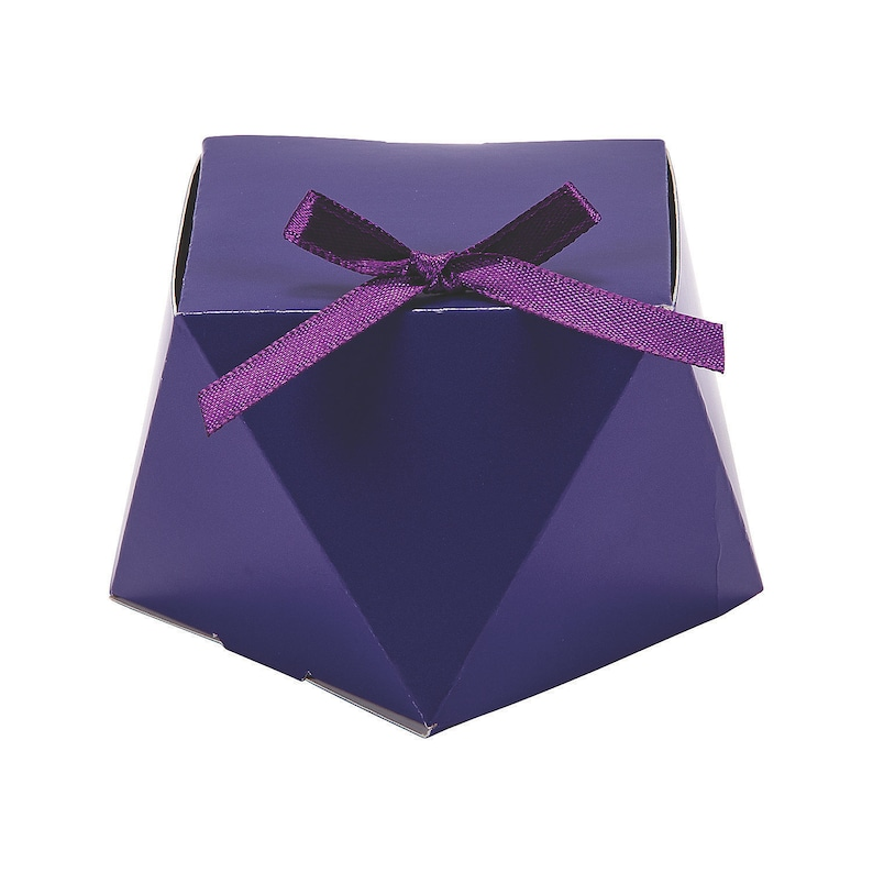 12 Pieces Purple Geometric Favor Boxes With Bow Party Supplies