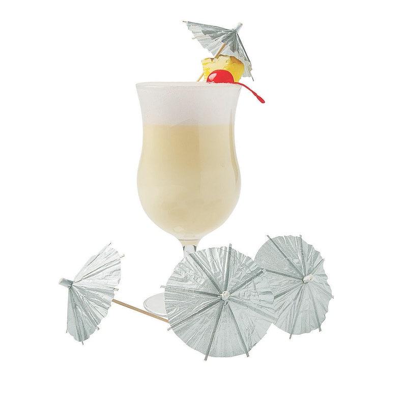 144 Pieces Silver Cocktail Parasols Party Supplies