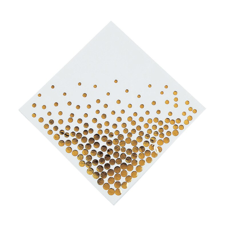 16 Pieces Party Supplies White with Gold Foil Dots Luncheon Napkins