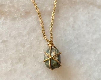 Green Catalan Stone Gold Plated Necklace