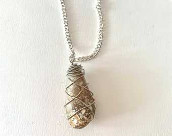 Pear Stone Wrapped Necklace
