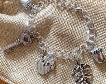 Autumn Silver Charm Bracelet