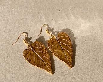 Gold Heart Leaves Earrings