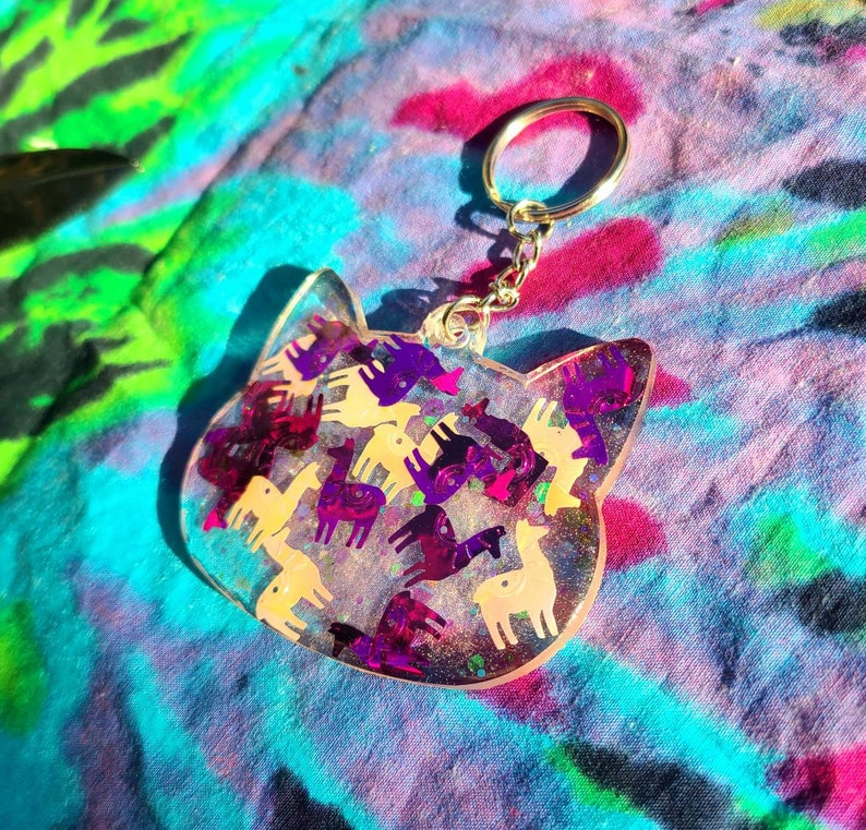 Llama Mama Iridescent Colorshift Kitty Cat  Keychain Accessory
