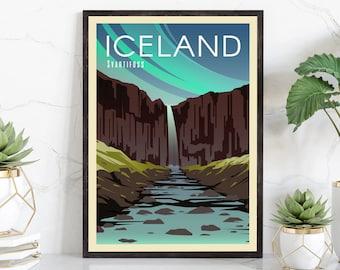 Northern Lights Icelandic Wall Art Iceland Travel Print Vik Sn\u00e6fellsj\u00f6kull National Park Poster Reykjavik Snaefellsness Peninsula