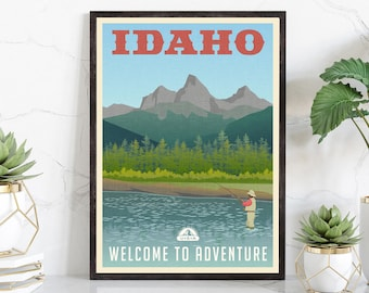 Retro Style Travel Poster, Idaho Vintage Rustic Poster Print, Home Wall Art, Office Wall Decors, Posters, Idaho State Map Poster, USA POSTER