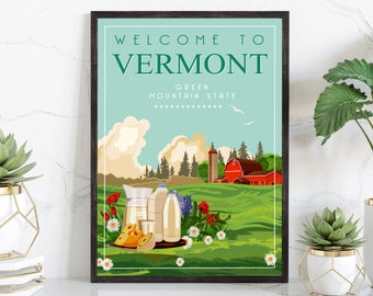 Retro Style Travel Poster, Vermont Vintage Rustic Poster Print, Home Wall Art, Office Wall Decoration, Posters, Vermont, State Map Poster
