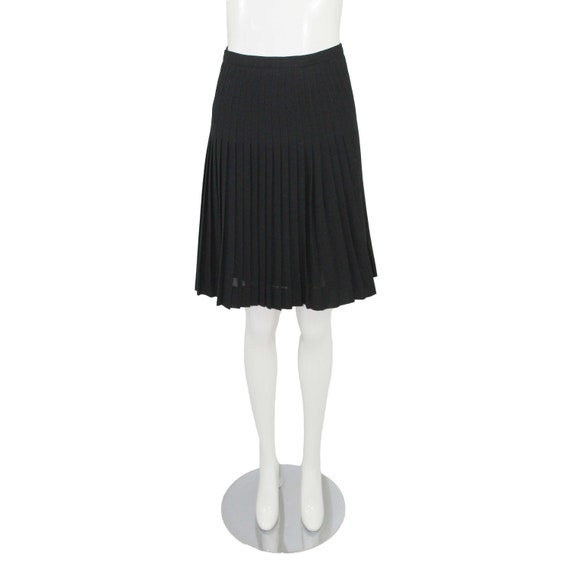 Guy Laroche Vintage Black Wool Crepe Pleated Skirt