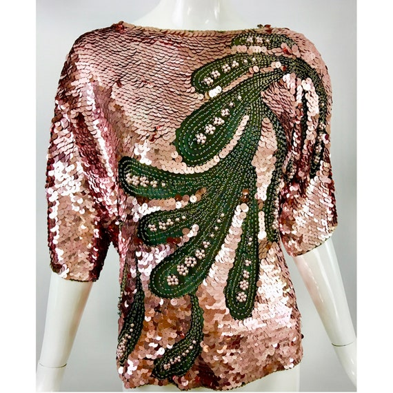 OLEG CASSINI Blouse in Sensational Silk Sequins ci
