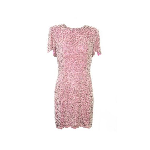 OLEG CASSINI 1980s Sequin Beaded Dress in Pastel P