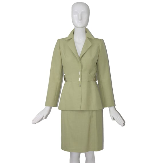 Rare Thierry Mugler Couture 1990s Celedon 2pc Suit