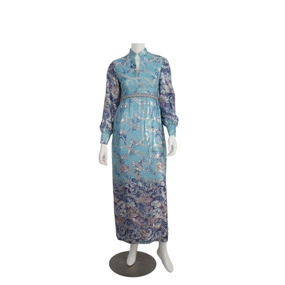 1970s RICHILENE Print Maxi Dress Gown with Silver