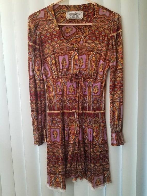 Vintage 70s Silky Long Sleeve Pattern Dress