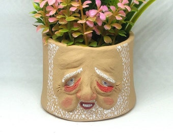 Hide The Pain Harold - Quirky small face plant pot, weird sculpture, meme, funny gift, weird gift, strange sculpture, succulent b plant pot,