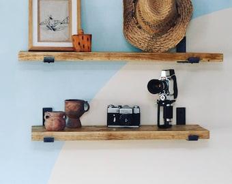 Classic Scaffold Shelf - Farmhouse, Shabby Chic, Bohemian, Industrial, Rustic, Handmade Wall shelf with industrial metal brackets