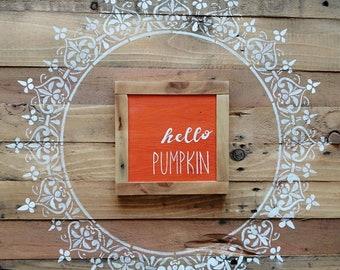 Hello Pumpkin wooden sign - Autumn Decor - wall sign