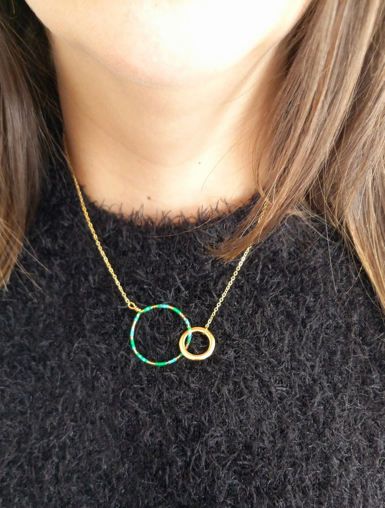 Hand Made Gift Linked Rings Anniversary Gift Gold Plated Necklace Hand Made Necklace Gold Plated Forever Necklace Beaded Necklace