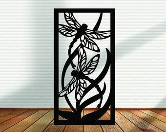 Metal Panel, Metal Privacy Screen, Fence, Decorative Panel, Wall Art, Garden Panel, Indoor & Outdoor - Dragonfly Flight