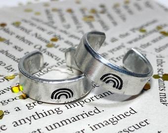 Rainbow Stamped Aluminum Ring