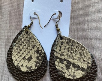 NOT Shed leathered dangle earrings REAL Asian Cobra Skin