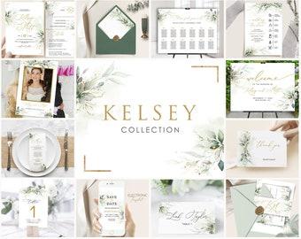 KELSEY - Greenery Wedding Invitation Bundle Template, Sage Green Gold Wedding Invitation Suite, Wedding Template Bundle, Wedding Invitation