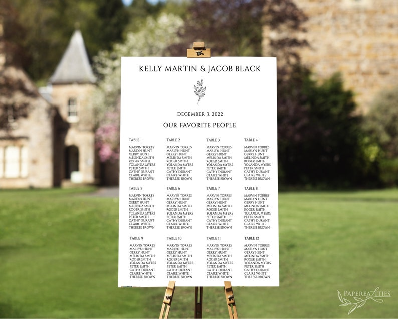 KELLY Find Your Seat Minimalist Seating Chart Seating Chart Template Editable Wedding Seat Plan Guest List Board Reception Poster