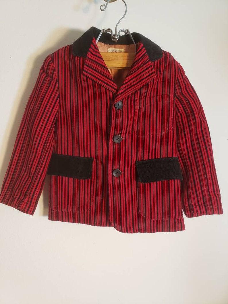 Vintage Toddler Black and Red Striped Corduroy Jacket Blazer Jack and Jill Togs