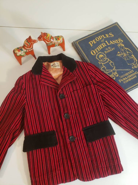 Vintage Toddler Black and Red Striped Corduroy Jac