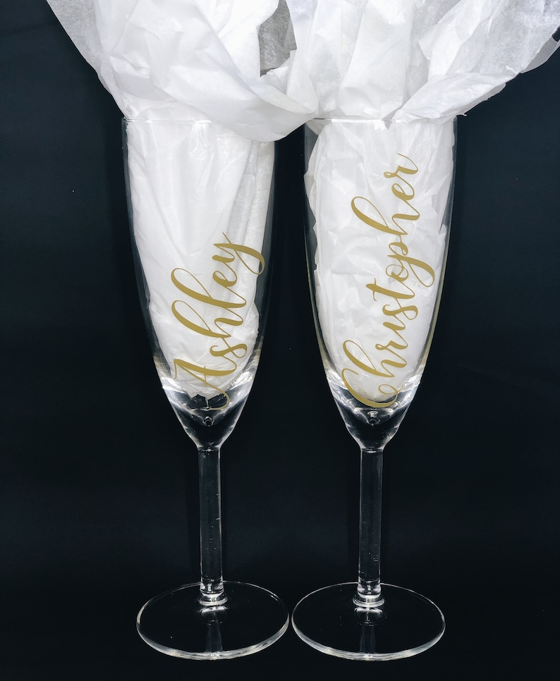 Personalized Glass Stemmed Champagne Flutes Custom Champagne Glass Wedding Engagement Anniversary