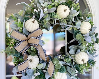 Fall Wreath with Lambs Ear Eucalyptus Wildflowers and White Pumpkins Black and White Striped Ribbon Welcome Front Door Farmhouse