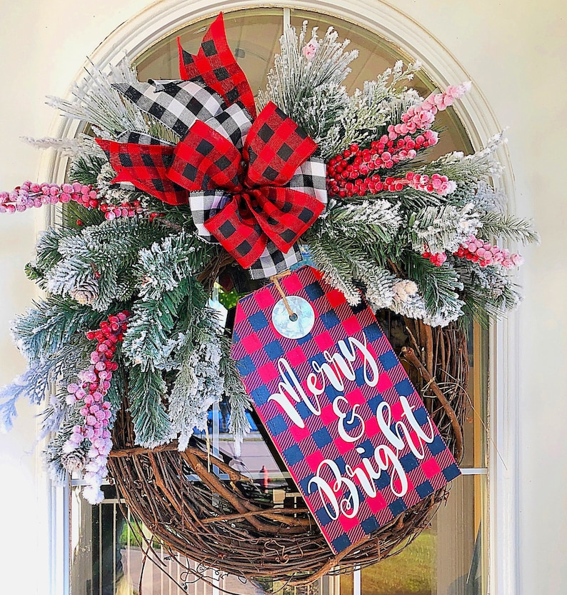 Christmas Wreath Winter Holiday Merry and Bright Sign with image 0