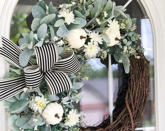 Fall Wreath with Lambs Ear Eucalyptus Mums and White Pumpkins Black and White Striped Ribbon Welcome Front Door Farmhouse Cottage Gift