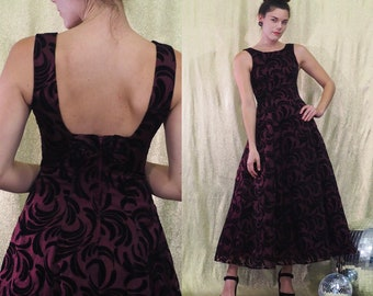 Vintage 1990s Purple & Black Burnout Velvet Ballgown | 90s Does 50s Sleeveless Fitted Bodice Full Skirt Dress | Size XS by Speed Fashion